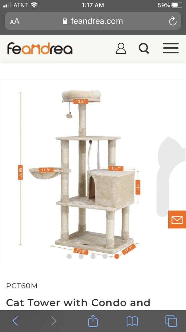Feandrea - Cat Tower with Condo and Basket