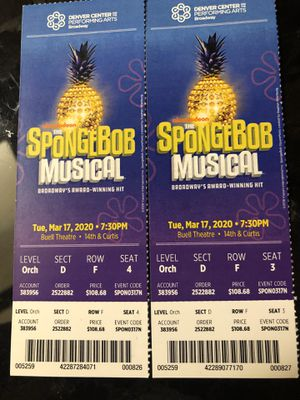 Spongebob Musical Tickets @ The Buell for Sale in Westminster, CO
