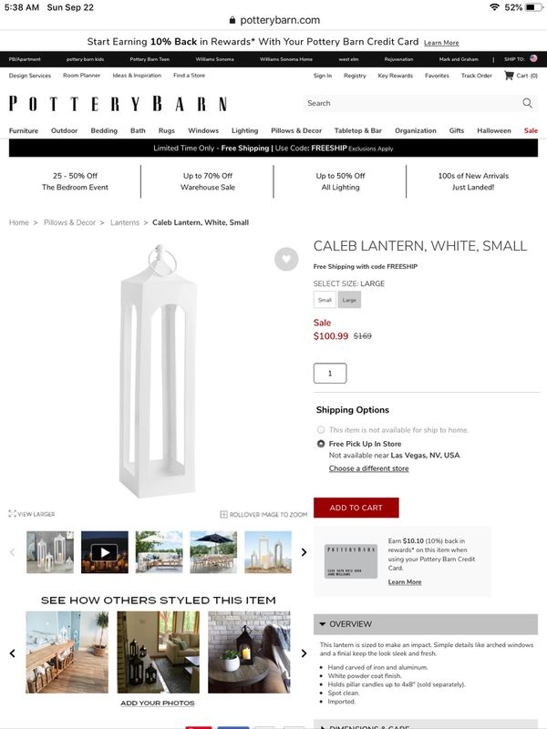 Outdoor White Lanterns - Caleb in White (3 Large/ 3 Small = 5 total) - $100 for all 6 lanterns!k