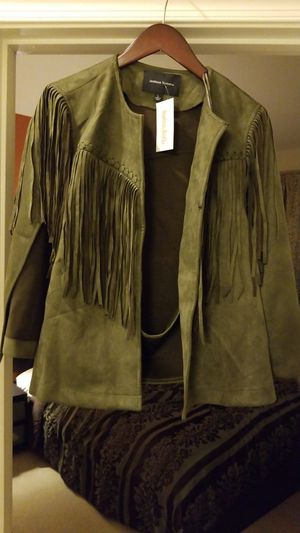 Green suede fringe cape blazer size L for Sale in Washington, DC