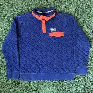 Patagonia Navy Blue Orange Organic Cotton Quilt Quilted Snap T Fleece Pullover Sweater Sweatshirt Jacket for Sale in San Diego, CA
