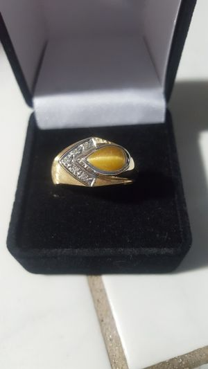 ONLY $650!! WAS $2,800!! BRAND NEW 1.75 CARAT GENUINE NATURAL TIGER EYE AND DIAMOND MAN'S RING WITH CERTIFIED APPRAISAL (SEE PIC # 2 FOR SPECS) for Sale in Providence, RI
