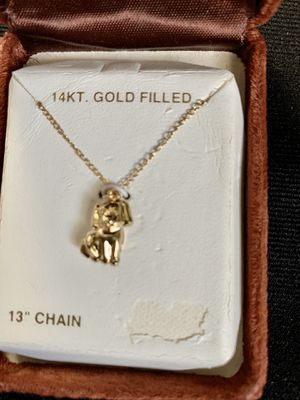"""Vintage 14KT Gold Filled 13"""" chain puppy necklace Childrens This was bought on base several years ago. Condition is New for Sale in Mountain View, CA"""