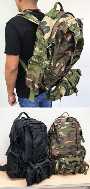 New $25 each 55L Outdoor Sport Bag Camping Hiking School Backpack (Black or Camouflage) for Sale in Whittier, CA