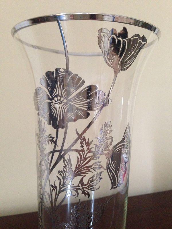 Vintage silver overlay flower vase