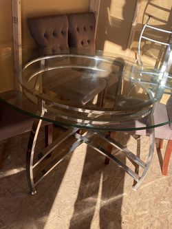 Dining room table with four chairs and two side tables glass table top chrome base for Sale in Westminster,  CA