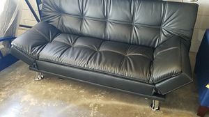 Black Leather Sofa Sleeper Futon for Sale in Dallas, TX
