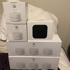 Google WiFi 3 Pack 2 Google WiFi 1 Pack 1 Apple TV 4K Hd Selling Individually for Sale in Porter, TX