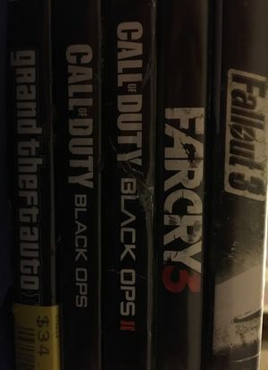 Xbox 360 games fallout 3, far cry 3, grand theft auto IV, and black ops 1 and 2 for Sale in Everett, WA
