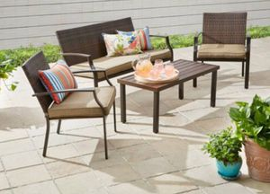 NEW!! 4 piece wicker stacking conversation set with fabric cover, patio chairs, outdoor furniture for Sale in Phoenix, AZ