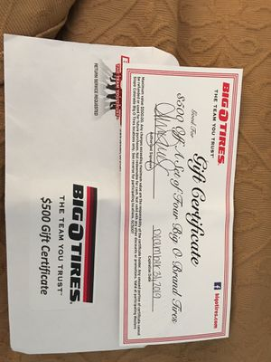 Big O Tires Gift Certificate for Sale in Grand Junction, CO