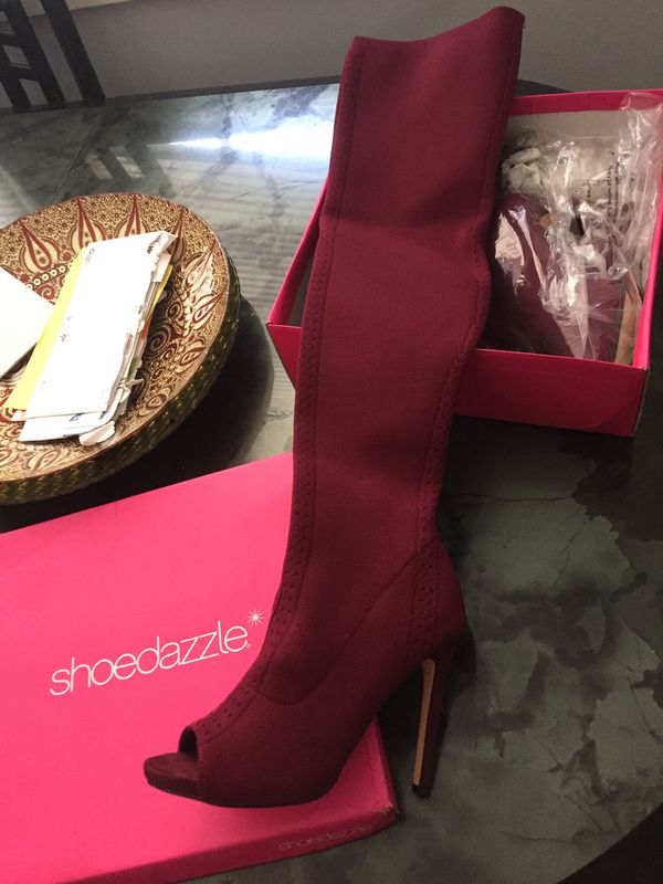 Shoedazzle Thigh High Heeled Boot Size 8.5