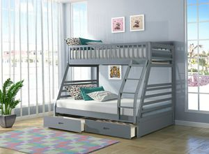 New Grey Twin/Full Bunk Bed with Storage for Sale in Austin, TX