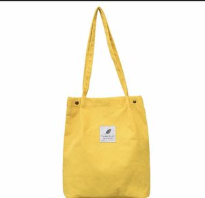 Yellow Women Corduroy Shoulder Bags Environmental Shopping Bag Female Casual Tote Package Large Capacity Ladies Multifunction Handbag for Sale in Austell, GA