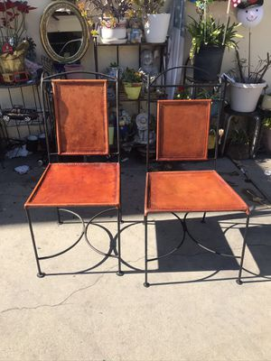 2 Authentic leather chairs good for patio for Sale in Hawthorne, CA