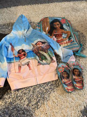 Moana set 5/6 hoodie 12c shoes plus book bag for Sale in St. Clair Shores, MI