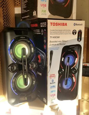 Brand New Toshiba bluetooth speaker. Changing Lights, FM radio, USB and AUX connnection, microphone included, great sound! Nuevos en caja Nation Wide for Sale in Miami Springs, FL