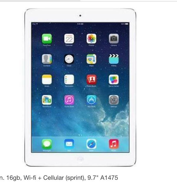 iPad Air 1. 32gb no sim. Sprint.