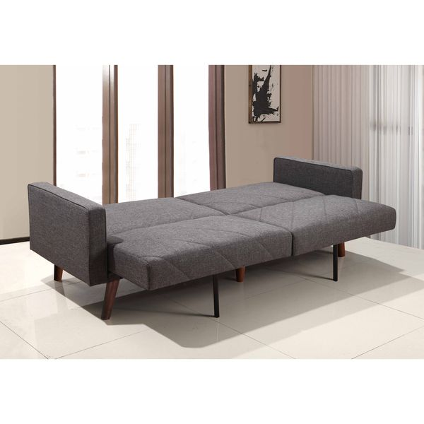 Split Back Linen Fabric Futon Sofa Bed with Lines