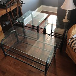 Glass And Metal Coffee Table / End Tables for Sale in Greensburg,  PA