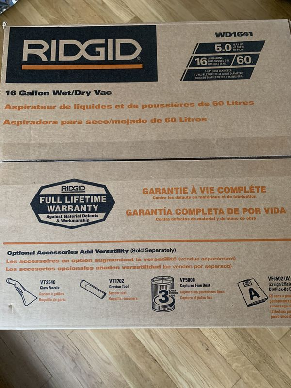 New inbox Rigid shop vac 5.0 wets and dry 16 gal