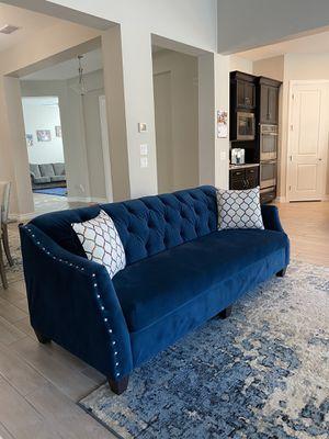 "Upholstered Nailhead Blue Velvet Sofa / Couch 87"" - BRAND NEW for Sale in Peoria, AZ"