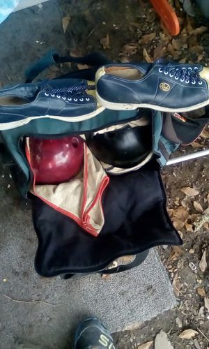 Bowling ball set on wheels two balls and carriers shoes for Sale in Prattville, AL