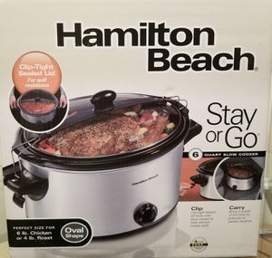 Hamilton Beach Stay or Go Portable 6-Quart Slow Cooker With Lid Lock, Dishwasher-Safe Crock Hamilton Beach slow cooker for Sale in Alexandria, VA