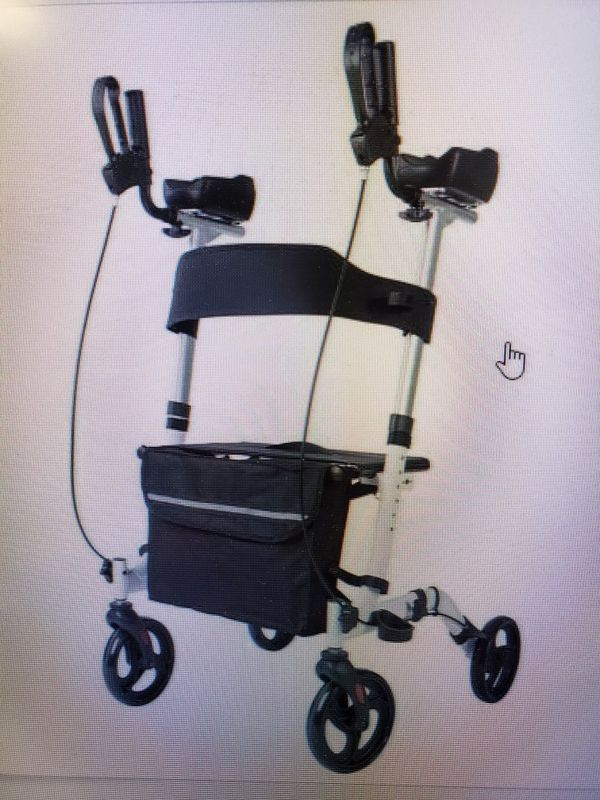 Upright walker stand up Rollator with seat and padded arm rests