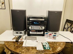 Powerful Huge Aiwa Compact Disc Stereo System 5 CD Changer Player & Dual Cassette Deck Player AM/FM Radio for Sale in Spring Hill, FL