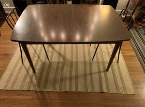 Nice teak wooden dining room table set w 2 chairs-in very good shape-can deliver! for Sale in Portland, OR