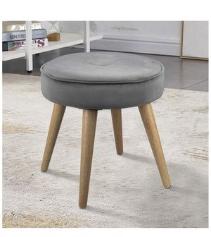 Ottoman Stool Velvet Side Table Seat, Makeup Dressing Stool with Wooden Legs for Living Room, Bedroom, Small Space Room, Office (Grey) for Sale in Rancho Cucamonga, CA