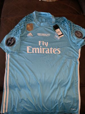 Real Madrid jersey new with tags size is xl with champions cup patch for Sale in Perris, CA