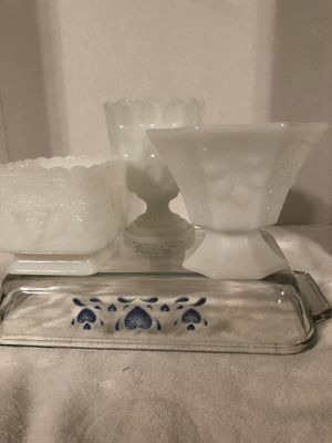 COLLECTED MILK GLASS TRIO! for Sale in Troup, TX