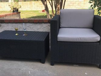 Patio Wicker Chair And Table, W/ Cushion Brand New for Sale in Walnut,  CA