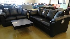 Black Leatherette Sofa and Loveseat Set for Sale in Phoenix, AZ