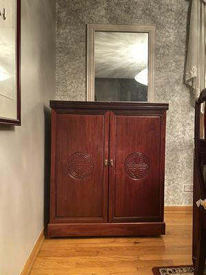 Chinese Carved Mahogany Wood Wine Cabinet for Sale in Naperville, IL