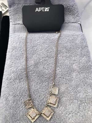 APT 9 Ladies Gold Toned Squares With Tannish Crystals Necklace for Sale in Shepherdstown, WV