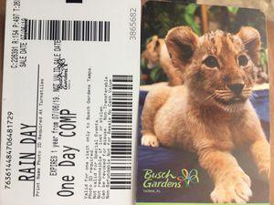 2 one day Busch Gardens tickles for Sale in Largo, FL