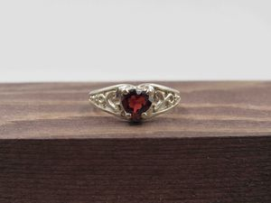 Size 6.75 Sterling Silver Heart Garnet Stone Band Ring Vintage Statement Engagement Wedding Promise Anniversary Bridal Cocktail Friendship for Sale in Everett, WA