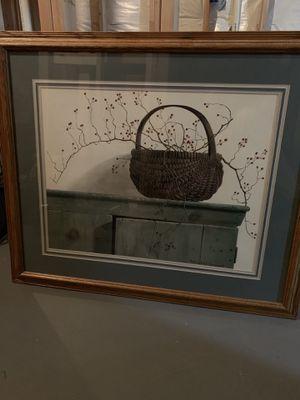 Framed basket picture for Sale in Crofton, MD