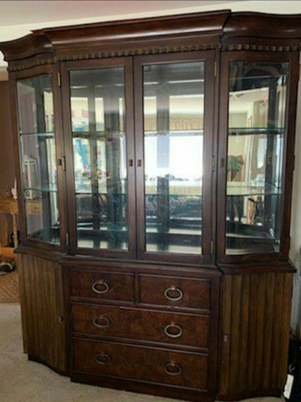 Glass Window Hutch with 4 Drawers
