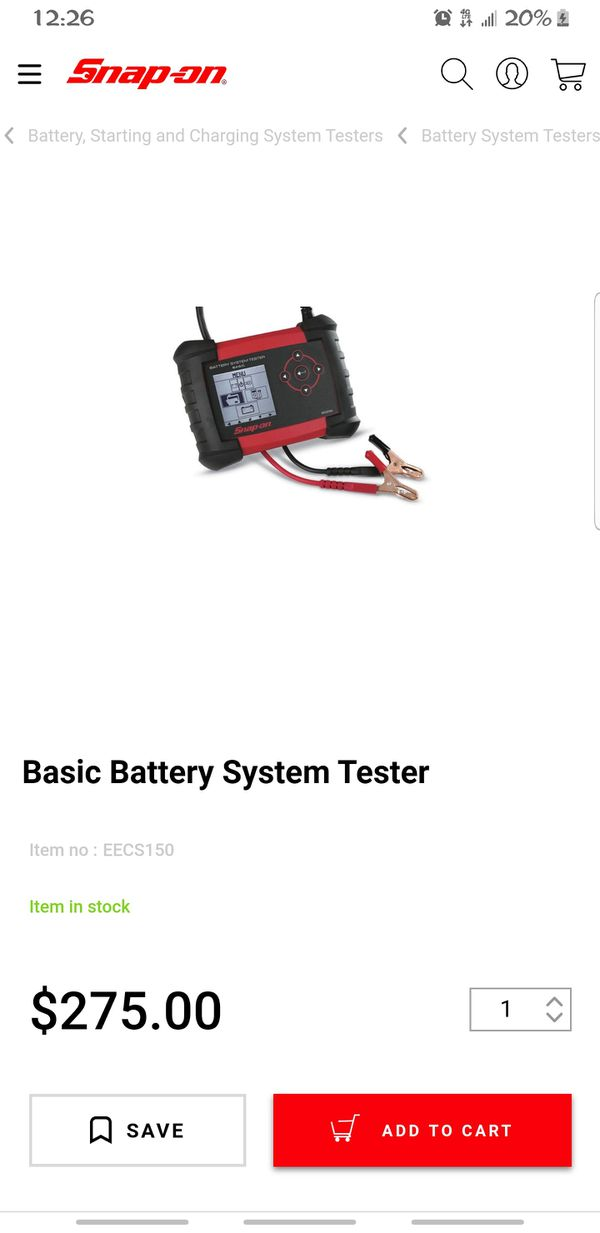Snap On Basic Battery System Tester EECS150 , Used like 4 times!