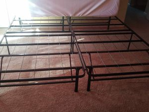 King size bed frame with memory foam mattress and double mattress protector for Sale in Cary, NC