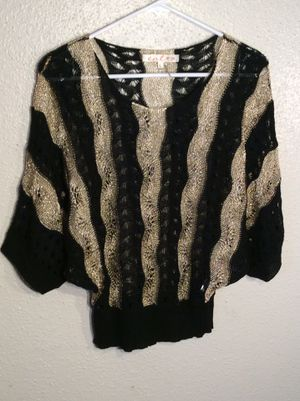 Like New Metallic Golden Black Women's Entro 3/4 Sleeve Sweater Top Tunic in package - size M-L for Sale in Austin, TX