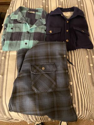 2 XL flannels and 1 L Flannel Jacket for Sale in Fresno, CA