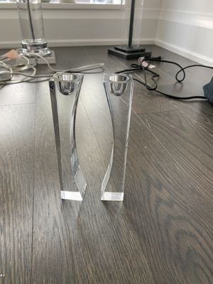Nambe' Crystal Candle Holders (Pair) for Sale in New York, NY