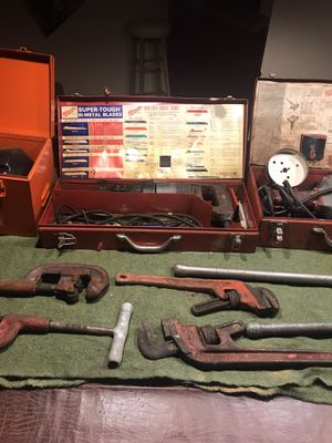 Ridged 114 and accessories. Milwaukee Hawg. Milwaukee Sawzall and a General super-Vee handyelectric cartridge load refill snakes. All plumbing tools for Sale in Zieglerville, PA