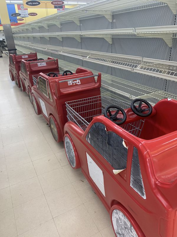 Racing car Shopping carts (4) in great condition