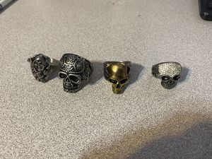 4 very heavy skull rings I don't know what they're made of for Sale in Palm Harbor, FL